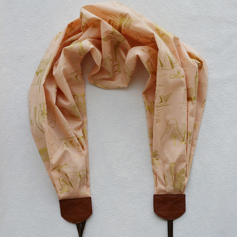 scarf camera strap chic traveler peach blush - BCSCS075