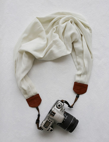 scarf camera strap cream solid - BCSCS076