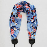 scarf camera strap light blue birch bark floral - BCSCS081