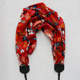 scarf camera strap red birch bark floral - BCSCS083