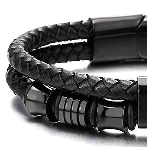 Braided Leather Bracelet with Stainless Steel Beads-Bracelet-Guy Jewels