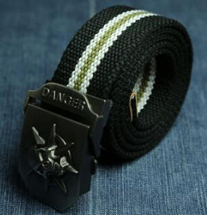 """DANGER"" Canvas Belt with Automatic Skull Buckle-Belts-Guy Jewels"