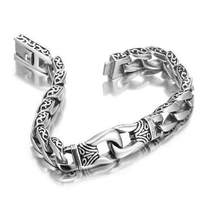 Engraved Stainless Steel Link Bracelet-Bracelet-Guy Jewels