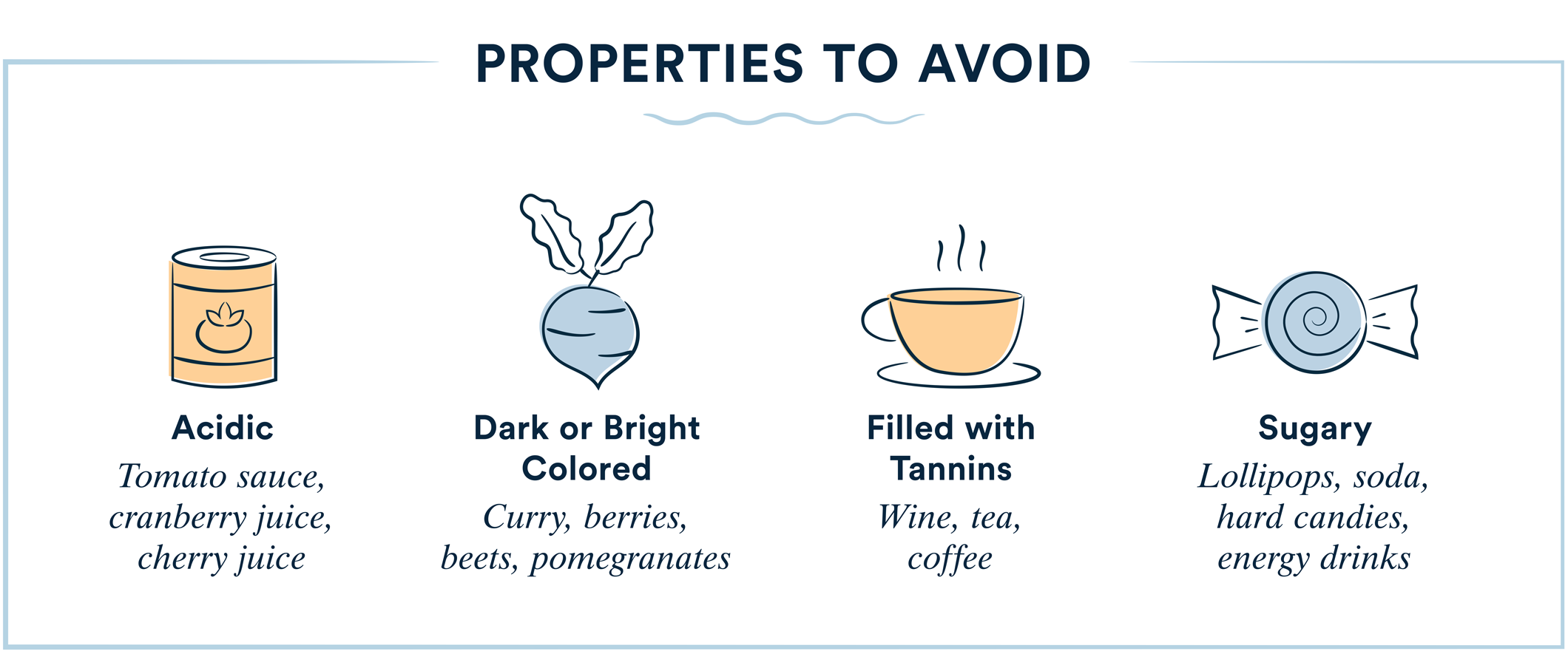 avoid foods that are acidic, dark colored, filled with tannins, and sugary