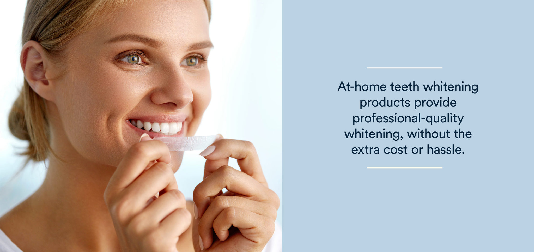 blonde woman doing at-home teeth whitening