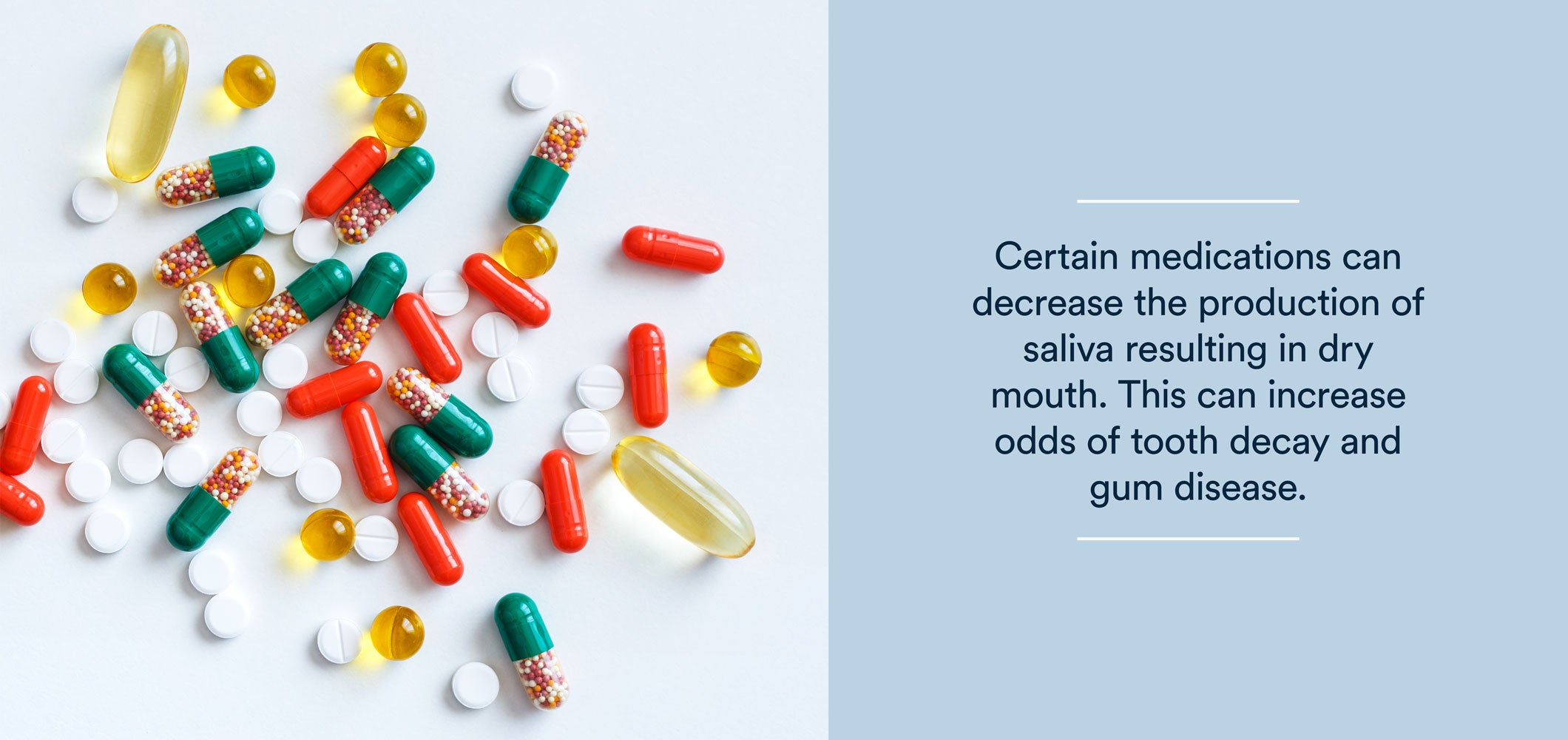 certain medications can decrease the production of saliva resulting in dry mouth.