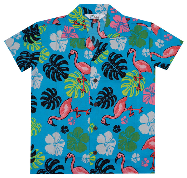 Hawaiian Shirts Boys Flamingo Beach Aloha Party Camp Short Sleeve Holiday Casual