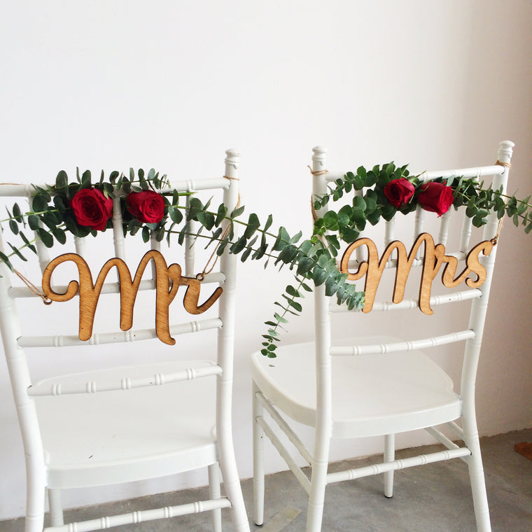 Wooden Mr & Mrs - Chair Signage