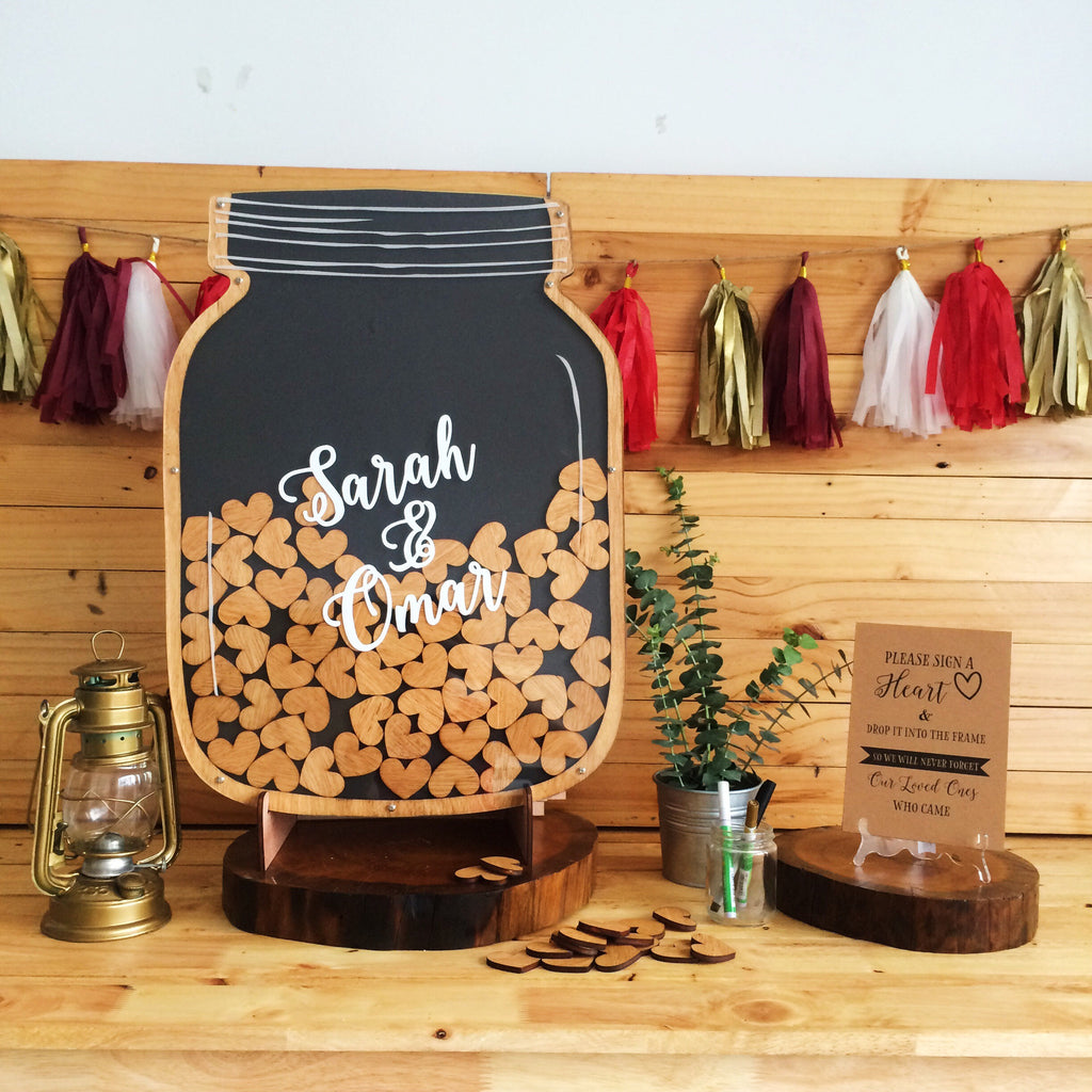 Custom Bride & Groom Names - Mason Jar - Dropbox Guestbook