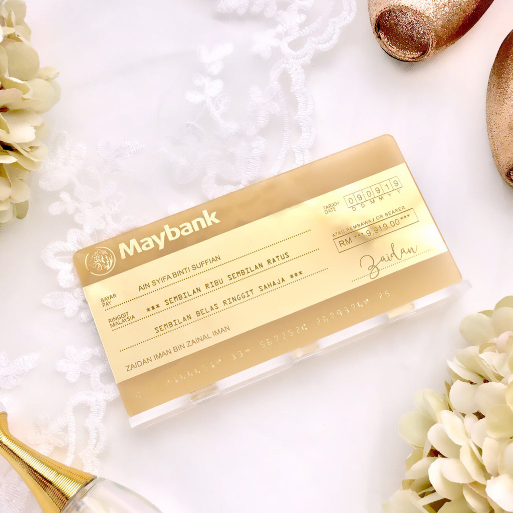 New - Mock-up Cheque - GOLD ACRYLIC