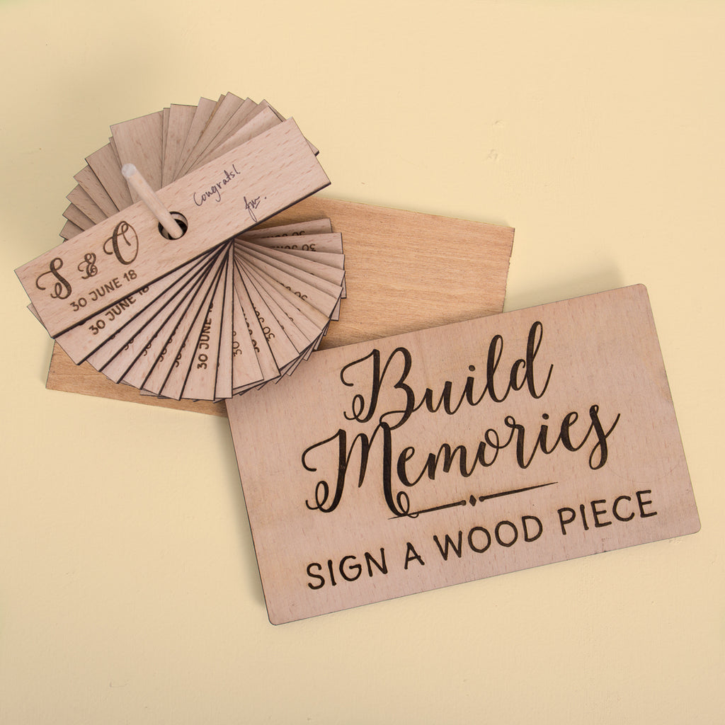 New - Wood Card Guestbook