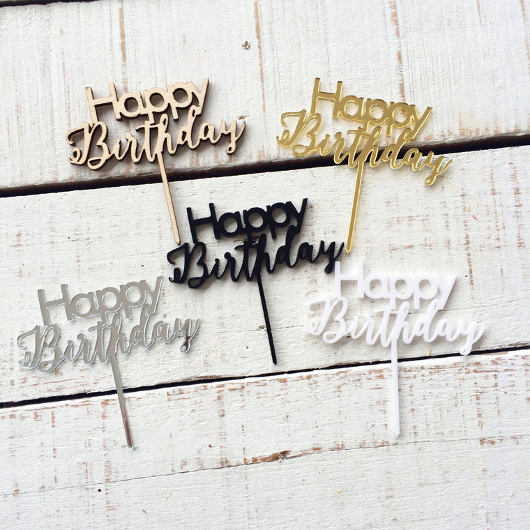 Happy Birthday - Tiny Topper - 5 pcs