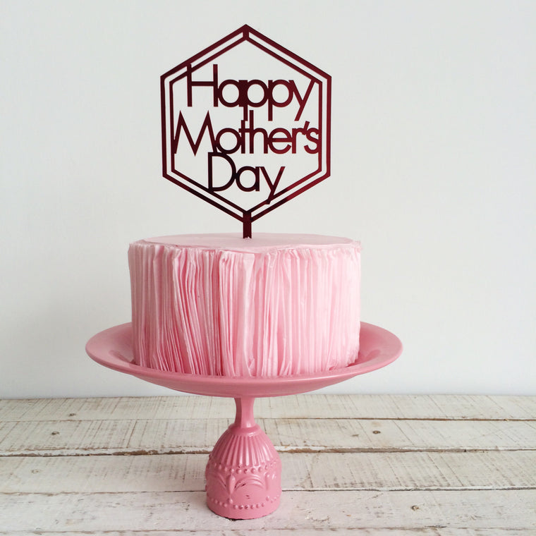 Happy Mother's Day with Hexagon [Cake Topper]