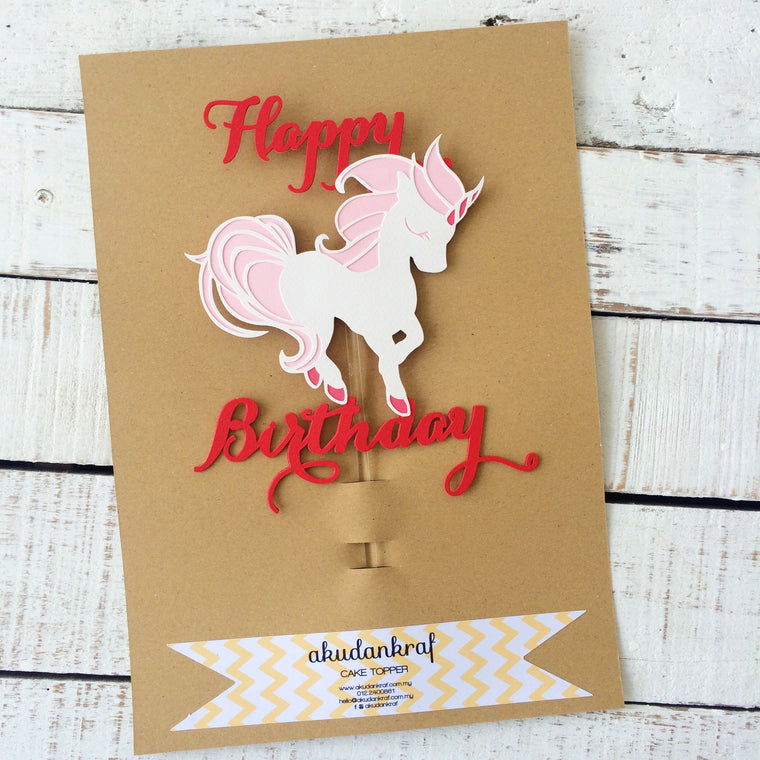 Unicorn - Happy Birthday - Cake Topper