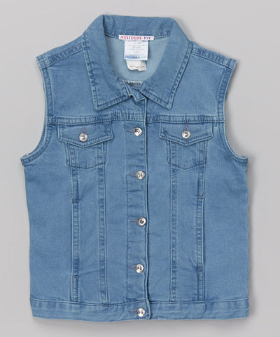 Denim Vest With Crystal Buttons