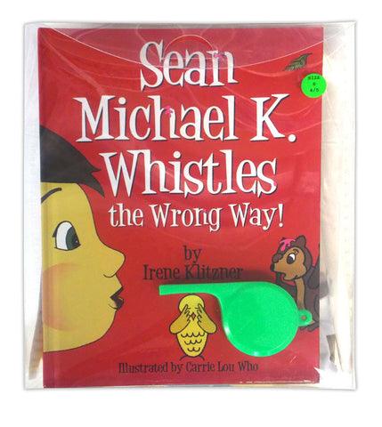 "<font color=""#FF0000"">Available this summer.</font><br>Sean Michael K. Whistles the Wrong Way! - Gift Set (Includes Storybook, Huge ""Quiet"" Detachable Whistle, Interactive T-Shirt, Plush Smiley Face Bouncing Ball, and Plastic Gift Box)"