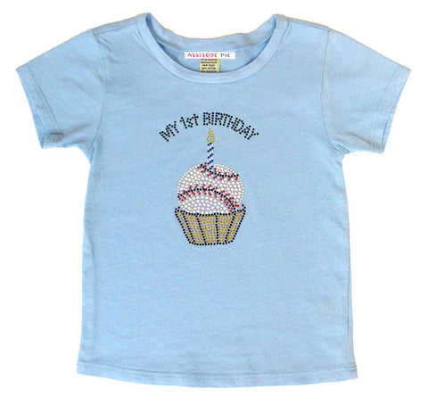 My 1st Birthday or Birthday Boy - Baseball Cupcake