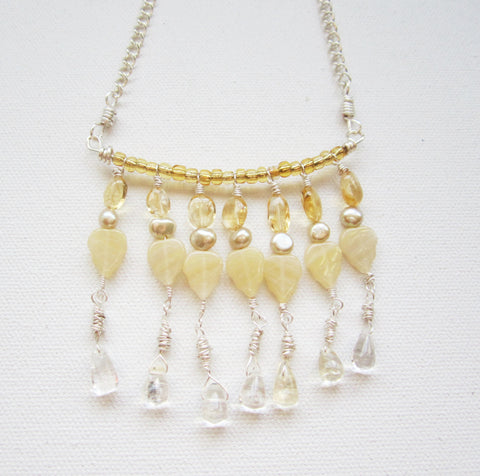Amel - Citrine/Pearl/Glass Necklace Free Shipping