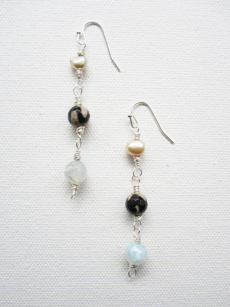 Amy - Freshwater Pearl/Agate Earrings Free Shipping