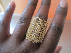 Beryl - Gold-Tone Crocheted Wire Ring Free Shipping