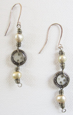 Billie - Freshwater Pearl/Shell Earrings Free Shipping
