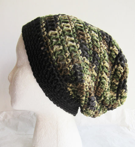 Camotwo - Camouflage/Black Crocheted Beanie/Hat Free Shipping