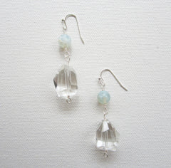 Candace - Agate/Clear Quartz Earrings Free Shipping