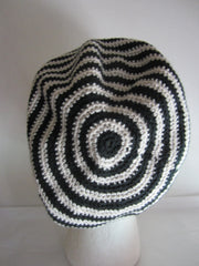 Cantrell - Black/White Striped Crochet Hat Free Shipping