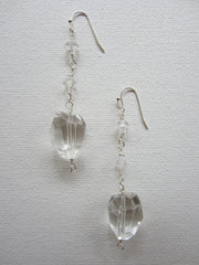 Casey - Swarovski Crystal/Clear Quartz Earrings Free Shipping