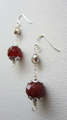 Chelsea - Carnelian/Glass Earrings Free Shipping