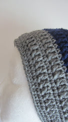 Classic - Blue/Grey Crochet Hat Free Shipping