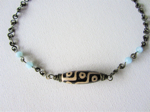 Contrast - Agate/Aquamarine Necklace Free Shipping