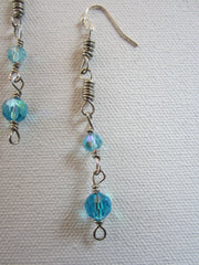 Electra - Blue Faceted Glass Earrings Free Shipping