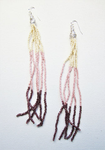 Femme - Seed Bead Earrings Cream/Pink/Plum