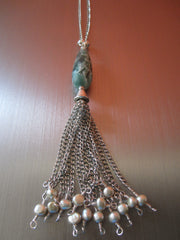 Gianna - Agate/Freshwater Pearl Tassel Necklace Free Shipping
