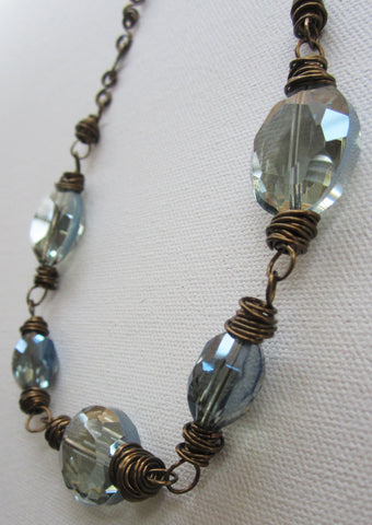 Giulia - Glass/Wrapped Wire Necklace Free Shipping