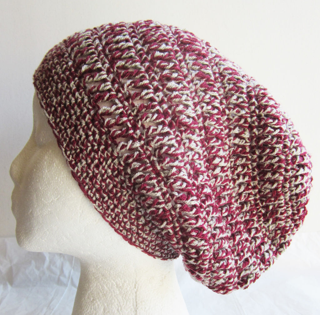 Hazel - Burgundy/Grey Mix Crochet Hat Free Shipping