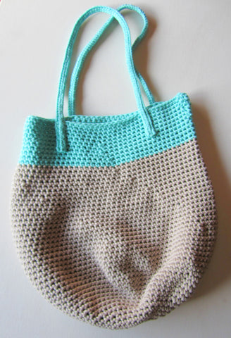 Cloudy - Aqua/Grey Crochet Handbag Purse Free Shipping