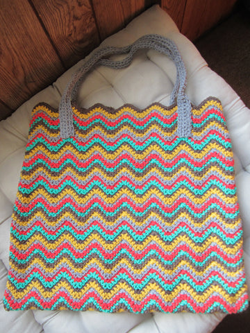 Primary - Multicolor Chevron Crochet Handbag Purse Free Shipping