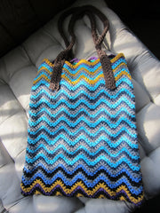 Ziggy - Multicolor Chevron Crochet Handbag Purse Free Shipping