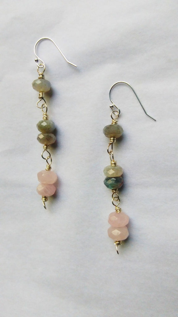 Shona - Labradorite/Rose Quartz Earrings
