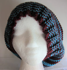 Between - Turquoise/Burgundy Knit-Crochet Hat Free Shipping