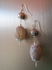 Isla - Freshwater Pearl Agate Earrings Free Shipping
