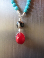 Ivana - Turquoise/Agate Pendant Necklace Free Shipping