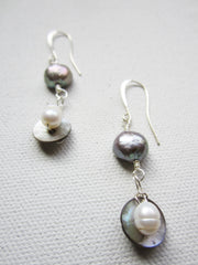Jackson - Freshwater Pearl/Shell Earrings Free Shipping