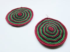 Jody - Red/Black/Green Crochet Earrings Free Shipping