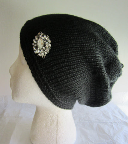 Kari - Black Beanie Hat with Pendant Free Shipping