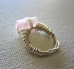 Light  - Rose Quartz Ring Free Shipping