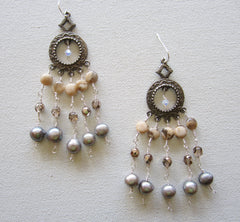 Lila - Agate/Freshwater Pearl/Glass Chandelier Earrings Free Shipping