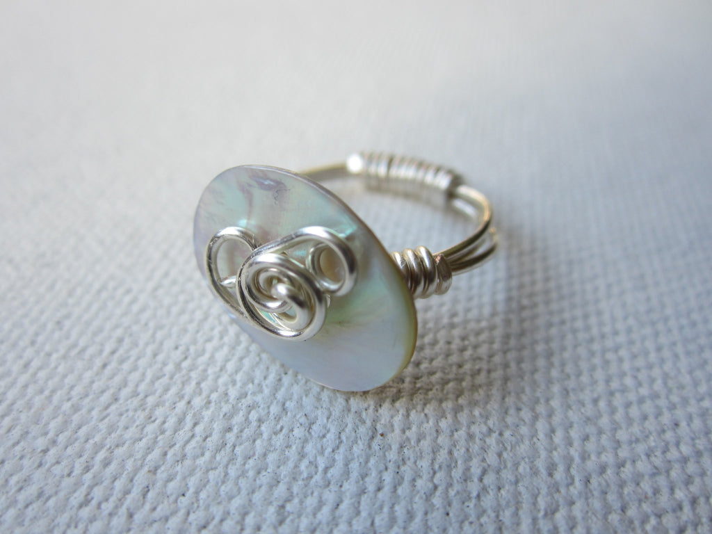 Lucy  - Shell/Wrapped Wire Ring Free Shipping